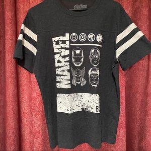 Gray White Stripe Sleeve Marvel Avengers T Shirt